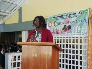 Newly appointed Special Education Needs (SEN) Officer, Akeisha Benjamin making her presentation
