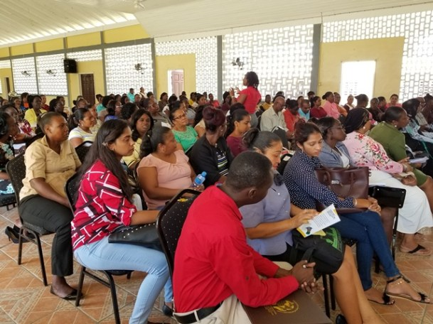 Region Six's primary school teachers at the Ministry of Public Health workshop at the Berbice High School
