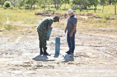 Director General of the Civil Defence Commission, Lieutenant Colonel Kester Craig and Vice Chairman of the Upper Takutu-Upper Essequibo Regional Democratic Council, Mr. Carl Singh, inspecting the well drilled at Aishalton Village