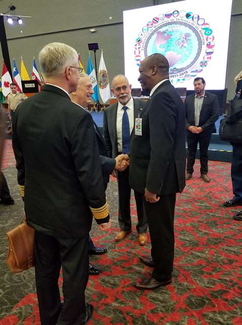 Minister of State, Mr. Joseph Harmon meets United States' Secretary of Defense, Mr. James Mattis on the sidelines of the Conference.