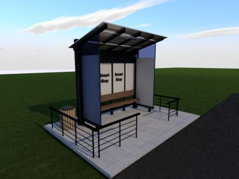 A model of the Ministry of Communities smart bus stops.