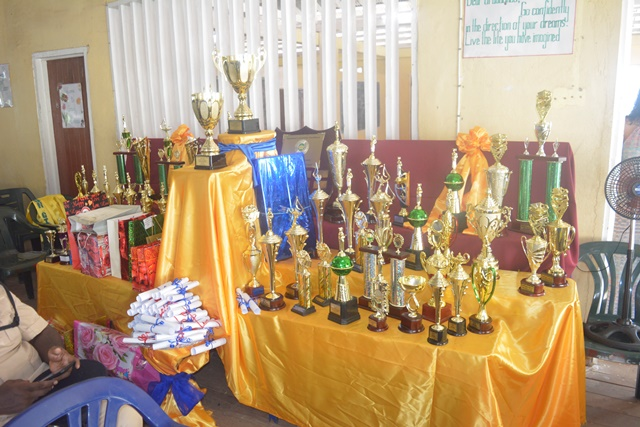 A display of the prizes awarded to the graduating class.