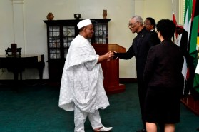 President David Granger greets Mr. Alhai Hassan Jika Ardo, High Commissioner of Nigeria to Guyana.