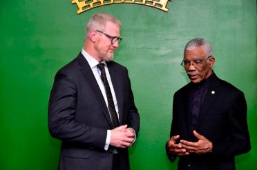 President Granger in discussion with the new Ambassador of the Kingdom of Norway to Guyana, Mr. Nils Martin Gunneng.
