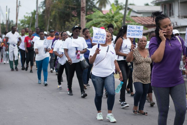Scenes during the Domestic Violence Walk undertaken by Ministry of Social Protection, East Coast Probation Department and Region Four Regional Democratic Council (RDC)