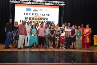 The cast and production crew of 'The Helpline'.