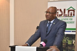 Minister Harmon delivers the feature address at the opening ceremony of the Third Partnership Initiative for Sustainable Land Management (PILSM 3) High Level Meeting of Caribbean Ministers from Small Island Developing States (SIDs) being held at the Marriott Hotel, Guyana.