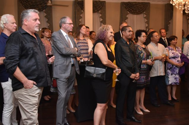 A section of the gathering at this evening's welcome reception for Non-Resident Ambassador of The Netherlands to Guyana, Mr. Jacob Frederiks at Cara Lodge