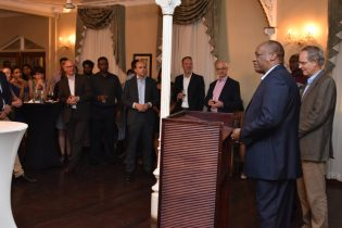 Minister of State, Mr. Joseph Harmon, who is performing the functions of Foreign Affairs Minister, delivers remarks at the welcome reception for the new Non-Resident Ambassador of The Netherlands, Mr. Jacob Frederiks