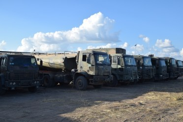 The Brazilian Army trucks that will be used for drilling of the wells.