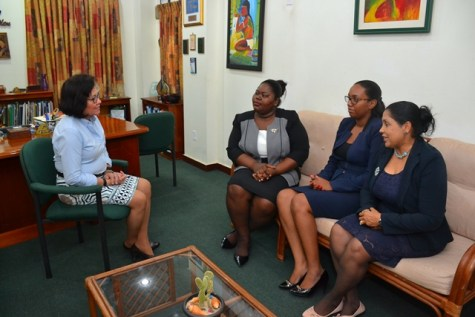First Lady Mrs. Sandra Granger, interacts with members of the Guyana Women Lawyers Association. (From Left) First Lady, Mrs. Sandra Granger, Vice President of GWLA, Ms. Shellon Boyce; Executive Member (GWLA), Ms. Keisha Chase and Secretary (GWLA), Ms. Chandrawattie Persaud.