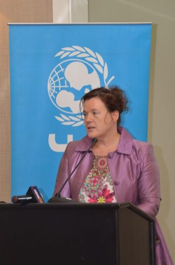 UNICEF's Country Representative, Sylvie Fouet addressing the participants of the Juvenile Justice Sensitisation Session.