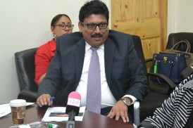 Chief Executive Officer of International Register of Shipping (IRS), Bijimon Punnoose while making his presentation on Guyana International Member State Audit Scheme (IMSAS) project.