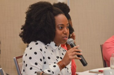 Participant during the question and answer segment of the Juvenile Justice Sensitisation Session.