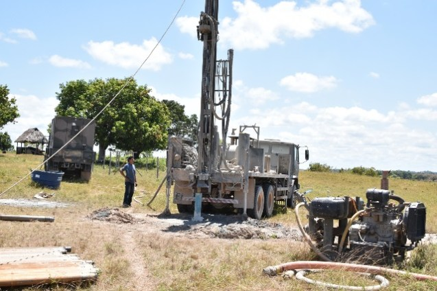 The Brazilian Army preparing to drill the fourth well in Awaruwaunau Village yesterday.