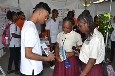 Students from the University of Guyana (UG) and other educational institutions visiting the various health booths.