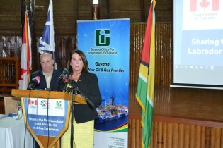 Minister of Natural Resources, Newfoundland and Labrador, Siobhan Coady, and President of the Newfoundland and Labrador Oil and Gas Industries Association (NOIA), Liam O'Shea, field questions from Guyanese during a presentation on the oil and gas experiences in the Canadian province.
