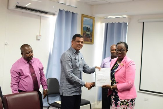 Minister of Education, Nicolette Henry and Chief Executive Officer (CEO) of BK International, Brian Tiwari.