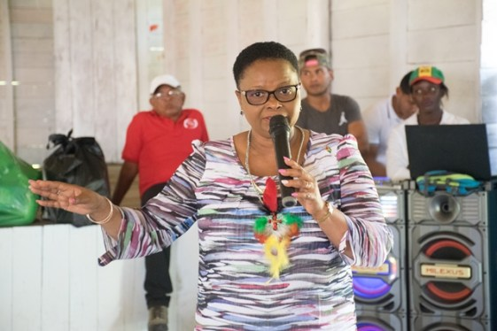 Minister of Public Health, Volda Lawrence addressing residents of Orealla-Siparuta during a recent visit.