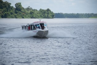Orealla-Siparuta's River Ambulance on its maiden voyage, after being commissioned.