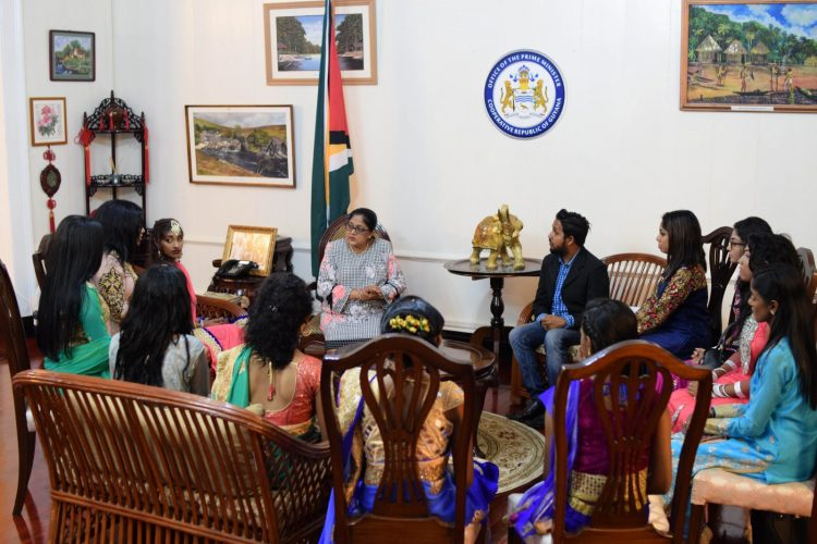Mrs. Sita Nagamootoo, wife of Prime Minister, Moses Nagamootoo giving pointers to the delegates for the upcoming Miss India Guyana 2018 pageant