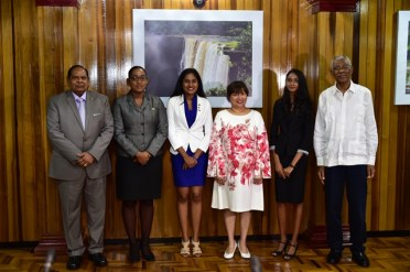 From left: Prime Minister Moses Nagamootoo, Prime Minister for the Day, Ms. Delicia George, Canadian High Commissioner for the Day, Ms. Sara Mohan, Canadian High Commissioner to Guyana, Ms. Lilian Chatterjee , President for the Day, Ms. Renuka Persaud and President David Granger.