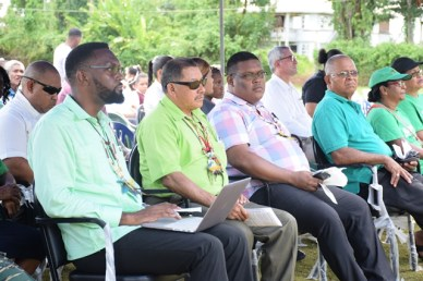From left, Director of Sport, Christopher Jones, Minister of Indigenous Peoples' Affairs and Fourth Vice President, Sydney Allicock, Regional Chairman, Brentnol Ashley and Mayor of Mabaruma Town, Henry Smith.