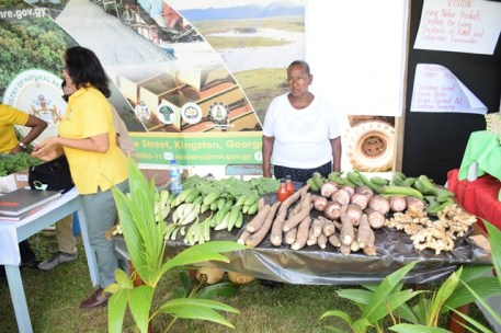 One of the exhibitors showcasing her produce.