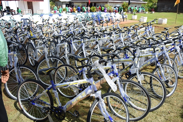 The bicycles distributed to the students of Mabaruma.