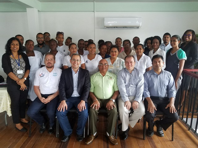 Health Officials of Region Three along with the PAHO/WHO consultants and REO, Denis Jaikaran.