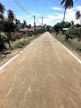 The newly rehabilitated access road that leads to the Community of Princeton, Corriverton