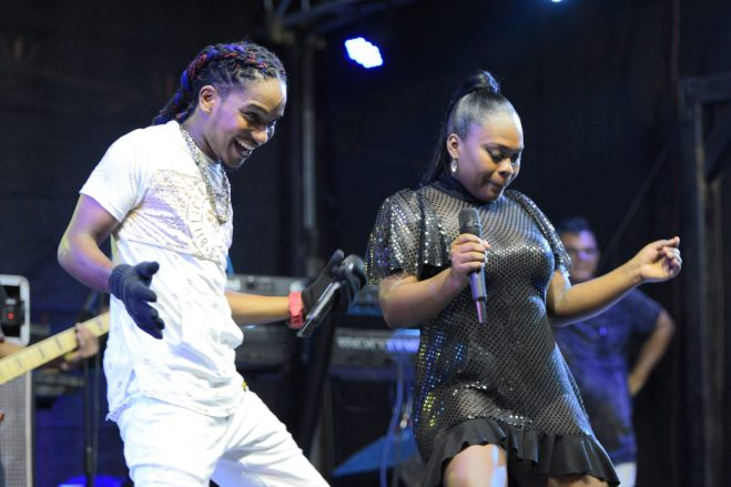 Local artistes performing at the Green Guyana Expo concert