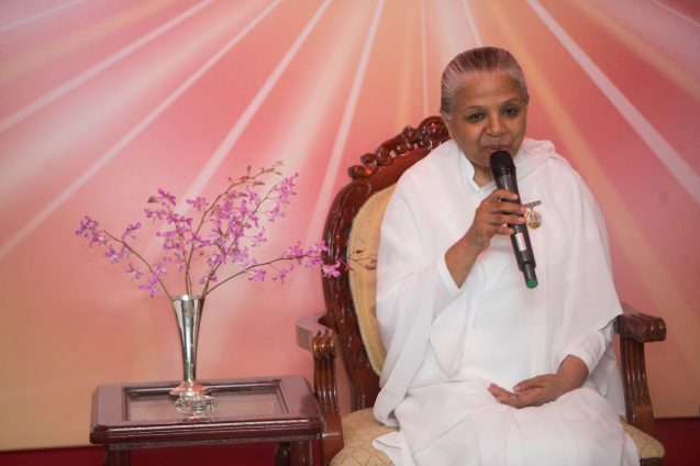 Sister Usha leading a meditation session on Sunday night