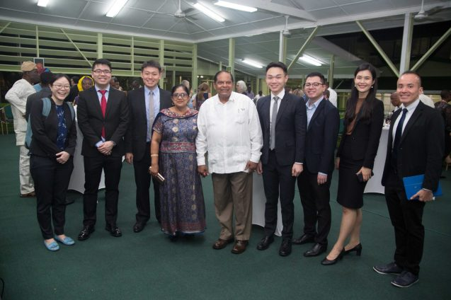 The Singapore delegation share a photo op with Prime Minister Nagamootoo and Mrs. Nagamootoo