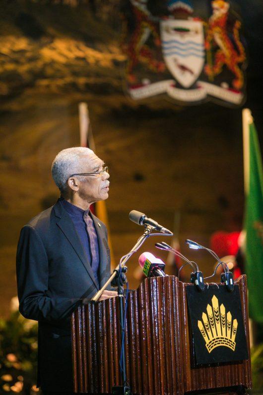 President David Granger addressing the 2018 Investiture Ceremony