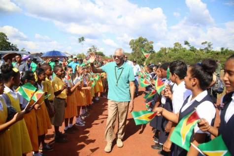 President David Granger and his team are welcomed by Mahdia students.