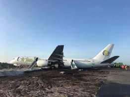 The Fly Jamaica Flight OJ 256 rests at the spot where it came to a standstill after making an emergency landing.