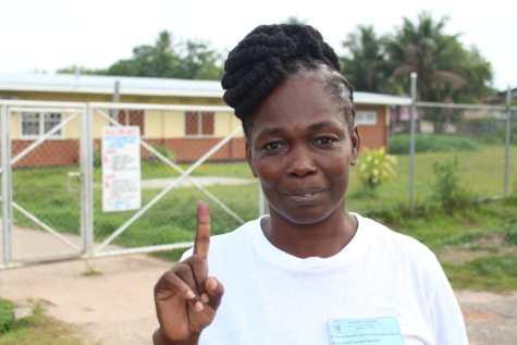 AFC candidate and first voter at Mackenzie Primary School, Coretta Braithwaite-Walton