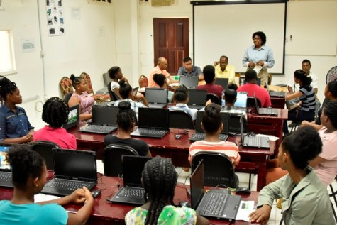 Representative of the Office of the First Lady, Lieutenant Colonel Yvonne Smith addresses the participants of the BIT-ICT training programme.