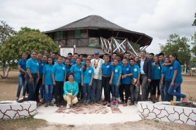 Canadian High Commissioner to Guyana, Lilian Chatterjee, Minister of Indigenous Peoples' Affairs, Sydney Allicock along with the students of the Bina Hill Institute, Annai, Region Nine, Upper Takutu- Upper Essequibo.