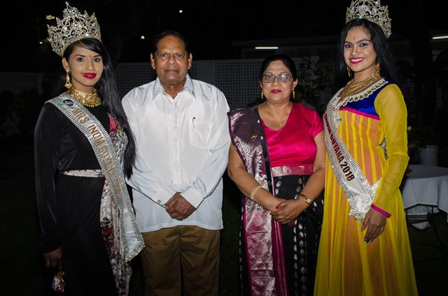 Prime Minister Moses Nagamootoo and his wife, Mrs. Sita Nagamootoo flanked by the reigning Mrs. Indian Worldwide Guyana and Ms. India Worldwide Guyana.