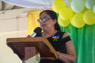 Wife of the Prime Minister, Mrs. Sita Nagamootoo delivering the charge.