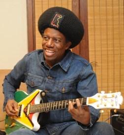 Eddy and Guyana Flag Guitar.