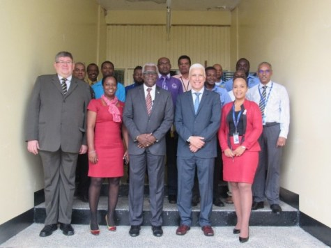 GCAA's Director General, Lt. Col. (Ret'd) Egbert Field, flanked by ICAO Representatives and participants of the National Air Navigation Plan workshop.