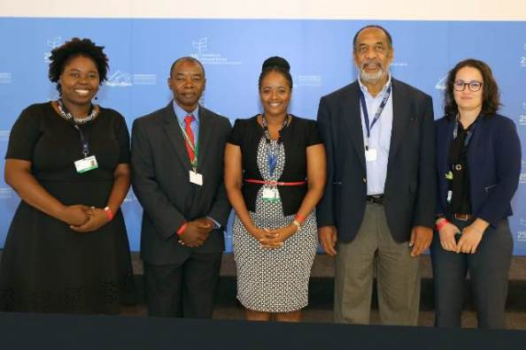 The Guyana delegation at CBD COP 14 in Egypt. From left: Ms. Odacy Davis, Deputy Commissioner, Protected Areas Commission, Dr. Patrick Chesney, Coordinator, MEAs ACP Project CARICOM, Ms. Stacy Lord, Programme Lead, Biodiversity Resources Management Programme Area, Environmental Protection Agency, Dr. Vincent Adams, Executive Director, Environmental Protection Agency, Ms Diana Fernandes, MEAs Coordinator, Department of Environment..