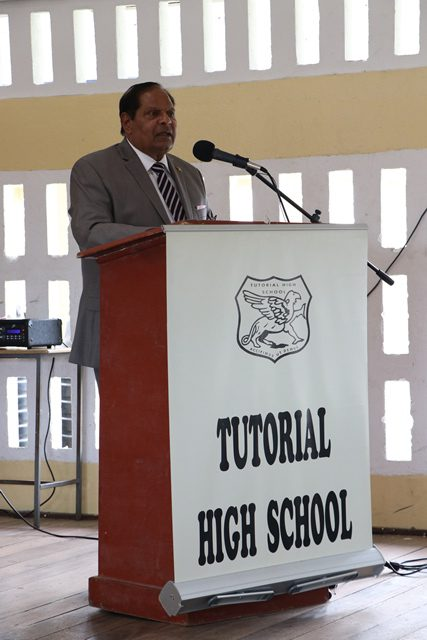 Prime Minister Moses Nagamootoo as he delivered the feature address at the Tutorial high school graduation.