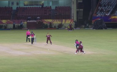Some of the action last evening between West Indies and New Zealand.