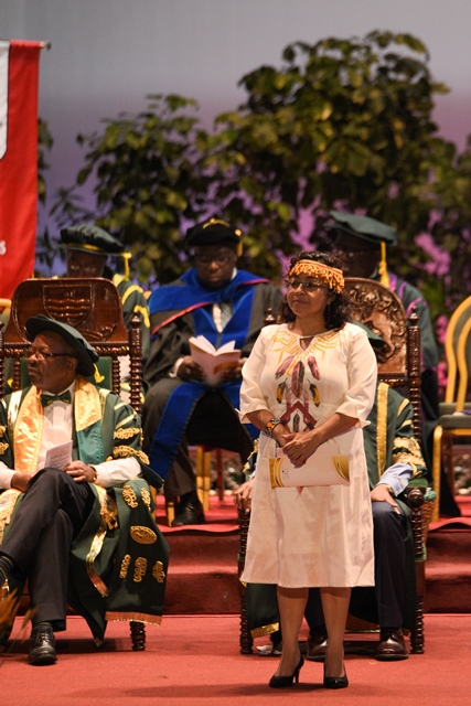 Laura George moments before being conferred with her honorary doctorate.