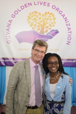 British High Commissioner, Greg Quinn and Founder of Guyana Golden Lives, Marva Langevine.