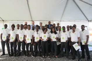 The third batch of Guyanese to graduate from TOTALTEC Academy's oilfield safety and operators training programme.